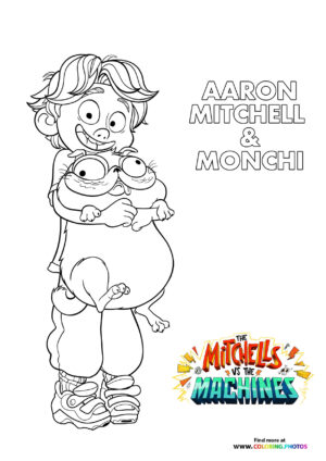 Aaron and Monchi - The Mitchells coloring page
