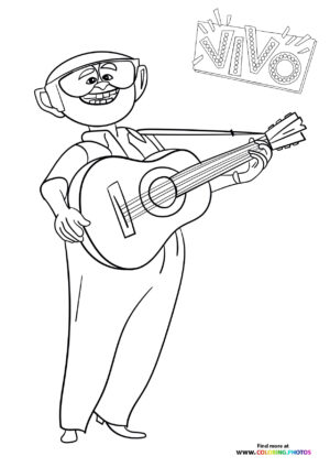 Andres playing guitar coloring page