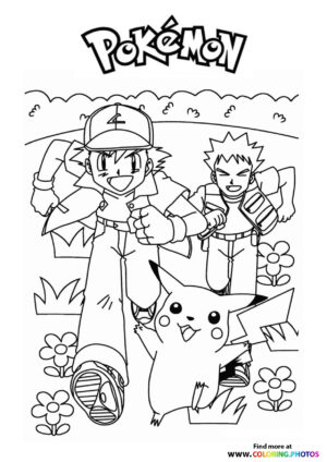 Ash and Brock running - Pokemon coloring page