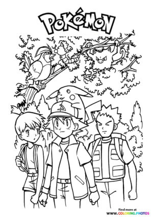 Ash, Misty and Brock - Pokemon coloring page