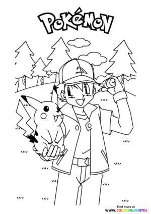 Ash and Pikachu - Pokemon coloring page