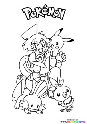 Ash with his pokemon - Pokemon coloring page