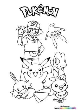 Ash and his pokemon - Pokemon coloring page
