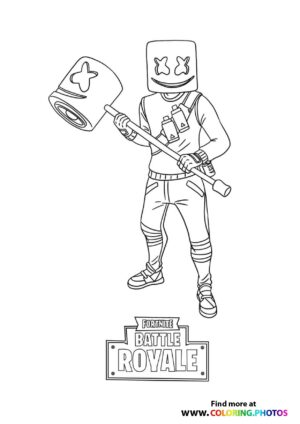 Awesome Marshmello Fortnite coloring page