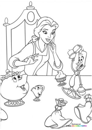 Princess Belle playing with friends coloring page