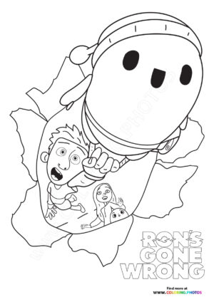Ron's Gone Wrong flaying coloring page