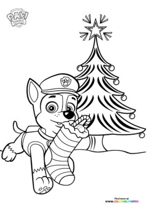 Chase with christmas stocking coloring page