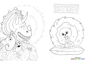 Clarance and animals from Extinct coloring page