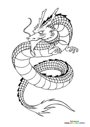 Chinese dragon coloring for adults
