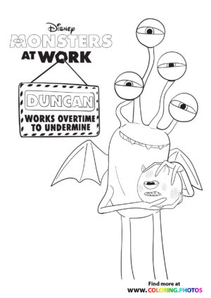 Duncanc monsters at work coloring page