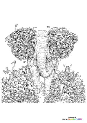 Elephant and animals coloring page for adults