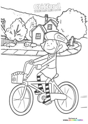 Emily on a bike coloring page