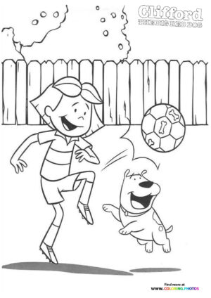 Emily playing with a ball coloring page