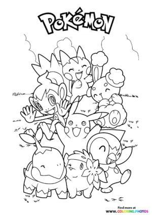 Pokemon gang - Pokemon coloring page