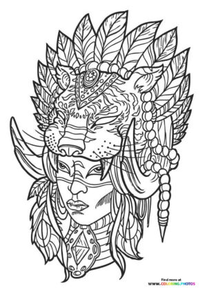Indian girl coloring for adults