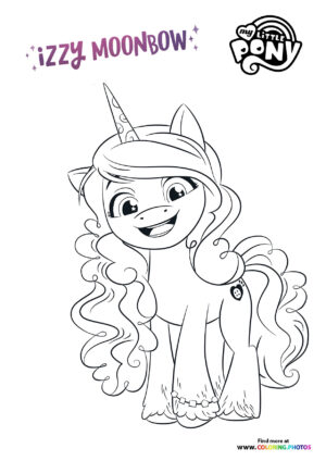 Izzy Moonbow smiling coloring page