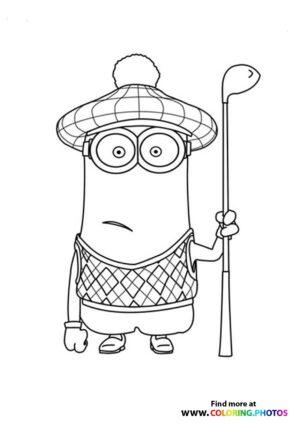 Minions Bob Golfing Coloring Page