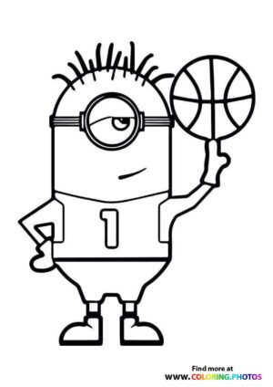 Minions Carl with basketball Coloring Page