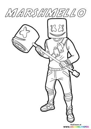 Marshmello with a bat - Fortnite coloring page