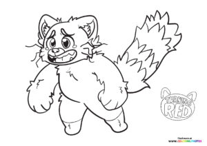 Mei Lee turning into panda coloring page