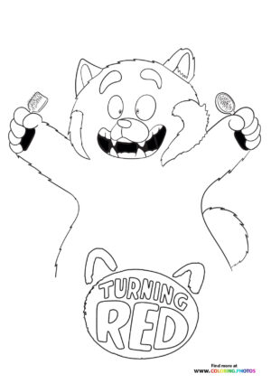 Mei Lee panda with combs coloring page