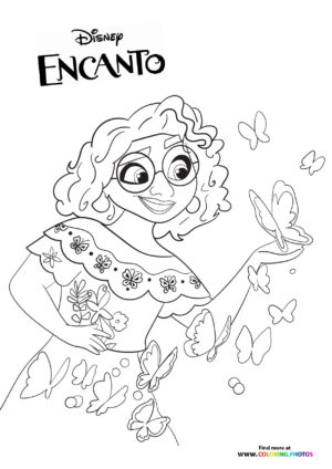 Encanto Mirabel with butterflys coloring page