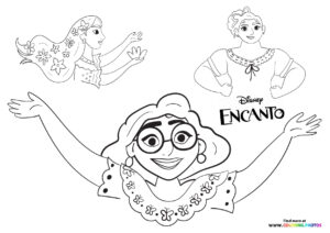 Encanto Mirabel with sisters coloring page