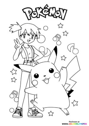 Misty and Pikachu - Pokemon coloring page