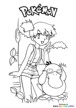 Misty and Psyduck - Pokemon coloring page