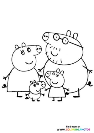 Peppa Pig with family coloring pages