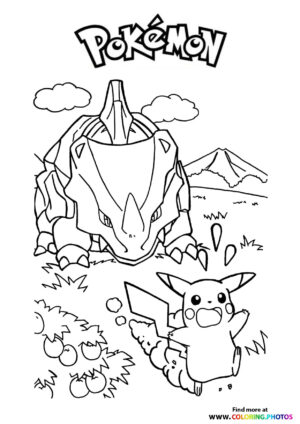 Pikachu being chased - Pokemon coloring page
