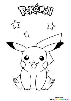 Pikachu with stars - Pokemon coloring page