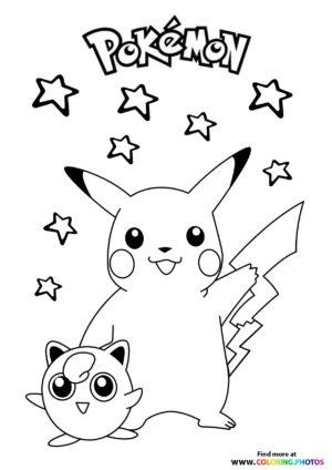 Pikachu and Jigglypuff - Pokemon coloring page