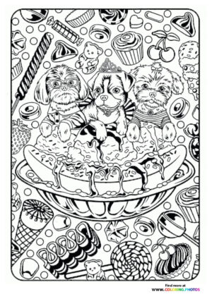 Dogs with Ice-cream coloring page for adults