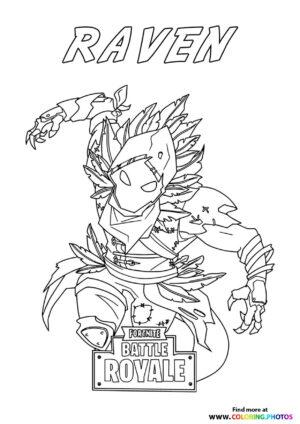 Raven slashing - Fortnite coloring page