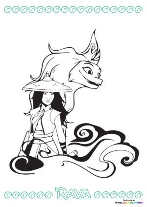 Raya and Sisu coloring page