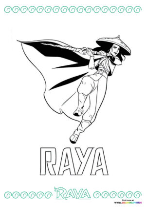 Raya with a sword coloring page