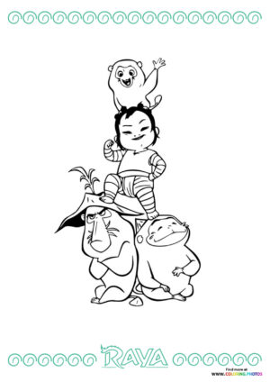 Raya the Last Dragon Ongi and Noi coloring page