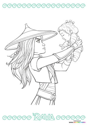 Raya and Noi coloring page