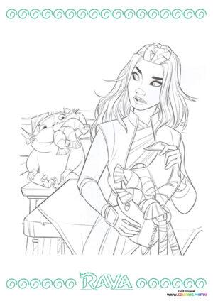 Raya and Ongi with fish coloring page