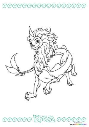 Dragon Sisu from Raya coloring page