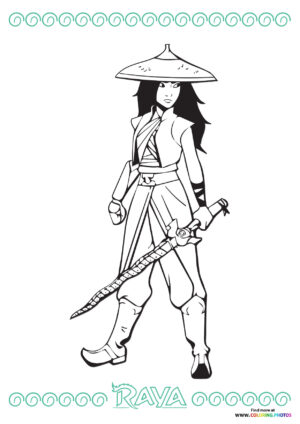 Raya ready with a sword coloring page