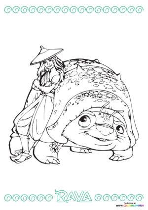 Raya and TUk Tuk coloring page