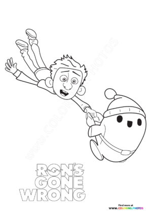 Ron draging Barney coloring page