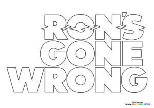 Ron's Gone Wrong logo coloring page
