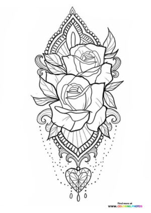 Roses and hart coloring for adults