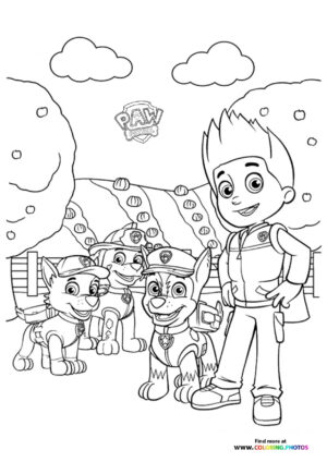 Ryder and Paw Patrol coloring page