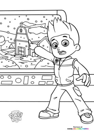 Ryder pointing to a map coloring page