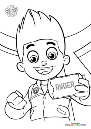 Ryder with tablet coloring page
