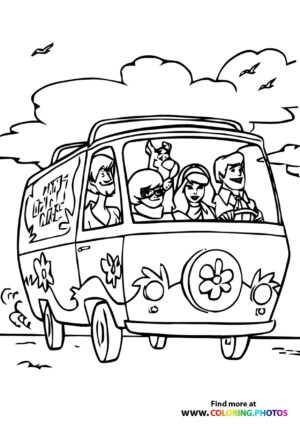 Scooby-Doo in Mystery Machine coloring page